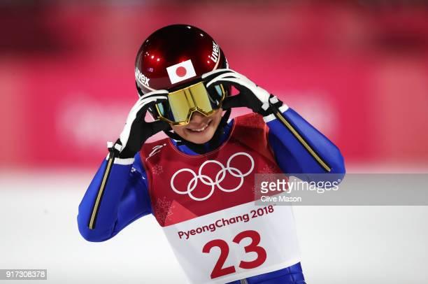 Kaori Iwabuchi of Japan reacts as she lands a jump during the Ladies' Normal Hill Individual Ski Jumping Final on day three of the PyeongChang 2018...