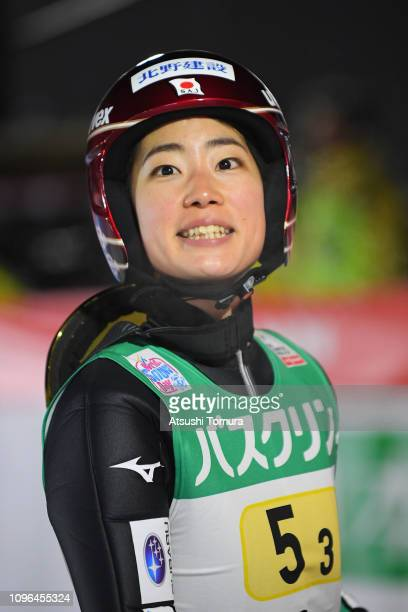 Kaori Iwabuchi of Japan smiles during day two of the FIS Ski Jumping World Cup Ladies Zao at Kuraray Zao Schanze on January 19 2019 in Yamagata Japan