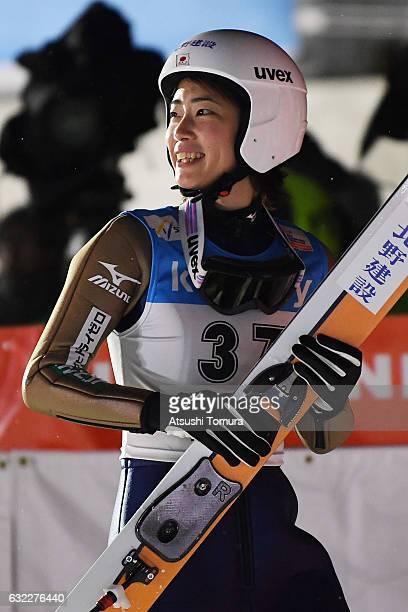 Kaori Iwabuchi of Japan smiles during the FIS Ski Jumping World Cup Ladies 2017 In Zao at Zao Jump Stadium on January 21, 2017 in Yamagata, Japan.