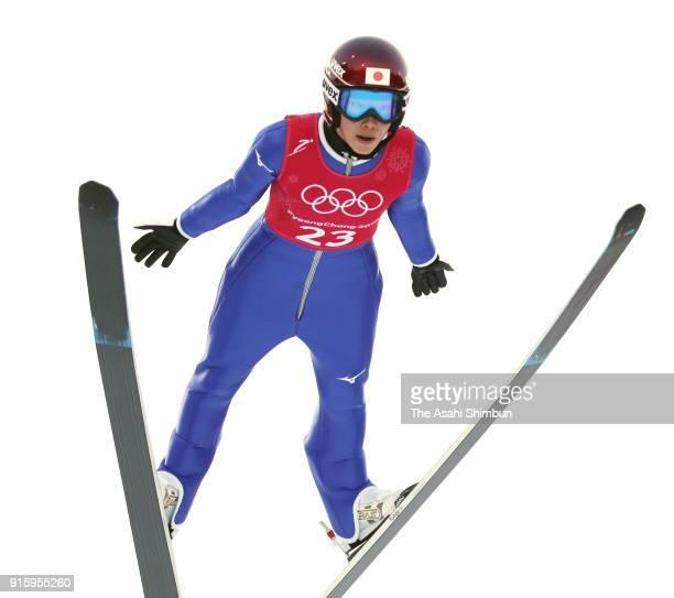 Kaori Iwabuchi of Japan soars during the Ladies' Normal Hill Individual training at Alpensia Ski Jumping Centre on February 8 2018 in Pyeongchanggun...