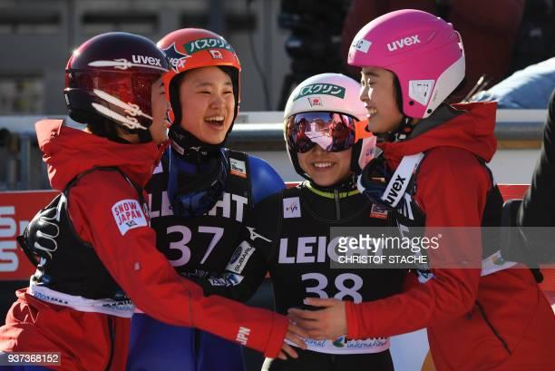 Kaori Iwabuchi Yuki Ito Sara Takanashi and Yuka Seto from Japan celebrate the victory of Sara Takanashi of the ski jumping World Cup Ladies...