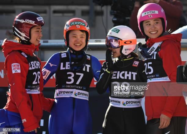 Kaori Iwabuchi Yuki Ito Sara Takanashi and Yuka Seto from Japan celebrate the victory of Sara Takanashi at the ski jumping World Cup Ladies...