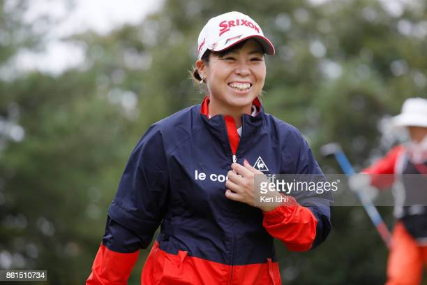 Kaori Makitani of Japan hits a tee shot on the second hole during the final round of the Udonken Ladies at the Mannou Hills Country Club on October...