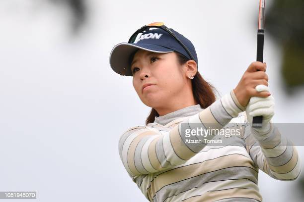 Kaori Makitani of Japan hits her tee shot on the 6th hole during the first round of the Fujitsu Ladies at Tokyu Seven Hundred Club on October 12 2018...