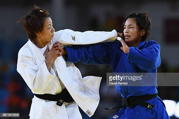 Kaori Matsumoto of Japan competes against ChenLing Lien of Chinese Taipei in the Women's 57 kg Contest for Bronze Medal B on Day 3 of the Rio 2016...