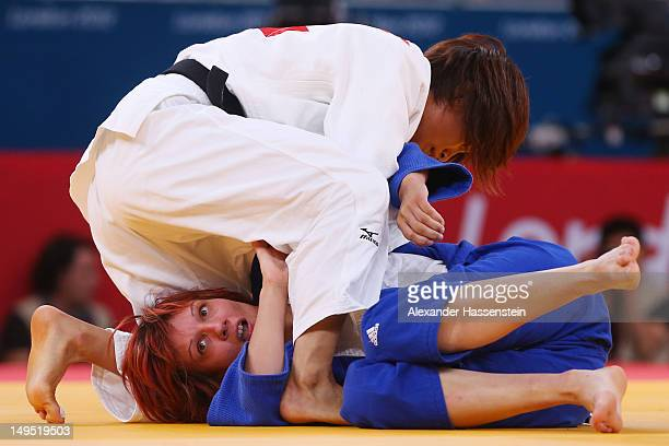 Kaori Matsumoto of Japan competes against Vesna Dukic of Slovenia in the Women's 52 kg Judo on Day 3 of the London 2012 Olympic Games at ExCeL on...