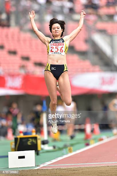 Kaori Nagai of Japan jumps in the Women's Long Jump final during the 99th Japan Athletics National Championships at Denka Big Swan Stadium on June 27...