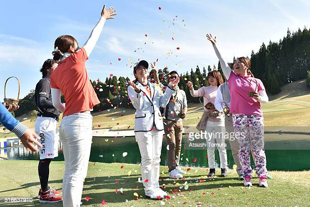 Kaori Oe of Japan celebrate after winning the T-Point Ladies Golf Tournament at the Wakagi Golf Club on March 20, 2016 in Takeo, Japan.