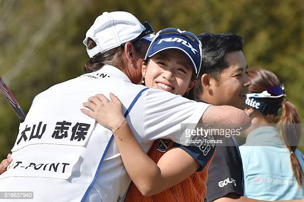 Kaori Oe of Japan celebrates after winning the T-Point Ladies Golf Tournament at the Wakagi Golf Club on March 20, 2016 in Takeo, Japan.