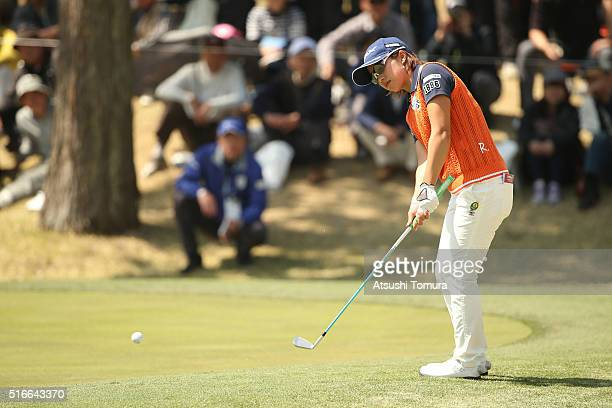 Kaori Oe of Japan chips onto the 7th green during the T-Point Ladies Golf Tournament at the Wakagi Golf Club on March 20, 2016 in Takeo, Japan.