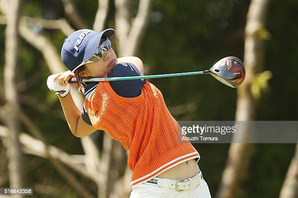Kaori Oe of Japan hits her tee shot on the 8th hole during the T-Point Ladies Golf Tournament at the Wakagi Golf Club on March 20, 2016 in Takeo,...