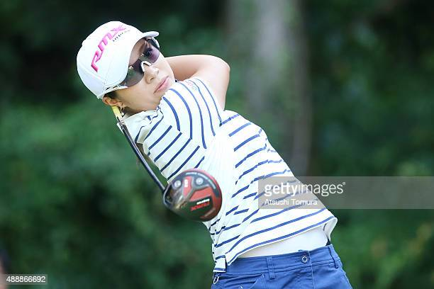 Kaori Oe of Japan hits her tee shot on the 9th hole during the first round of the Munsingwear Ladies Tokai Classic at the Shin Minami Aichi Country...