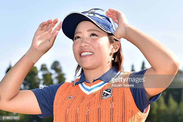 Kaori Oe of Japan smiles after winning the T-Point Ladies Golf Tournament at the Wakagi Golf Club on March 20, 2016 in Takeo, Japan.