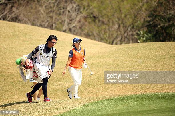 Kaori Oe of Japan walks up to the 6th green during the T-Point Ladies Golf Tournament at the Wakagi Golf Club on March 20, 2016 in Takeo, Japan.