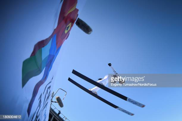"""Kaori of Japan competes during the Women""""u2019s HS 102 at the Viessmann FIS Ski Jumping World Cup Chaikovsky at on March 26, 2021 in Chaikovsky,..."""