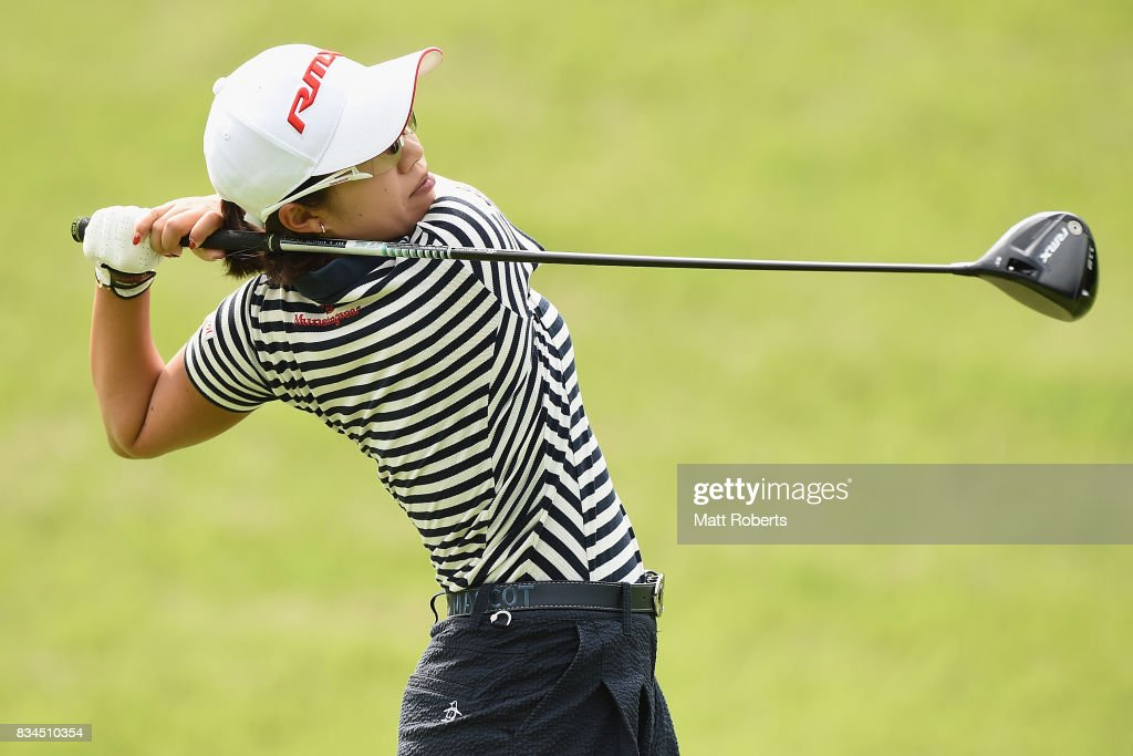 Kaori Ohe of Japan hits her tee shot on the 2nd hole during the first round of the CAT Ladies Golf Tournament HAKONE JAPAN 2017 at the Daihakone Country Club on August 18, 2017 in Hakone, Kanagawa, Japan.