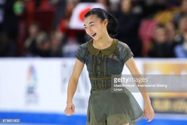 Kaori Sakamoto of Japan celebrates after her Ladies Free Dance program on Day 3 of the ISU Grand Prix of Figure Skating at Herb Brooks Arena on...