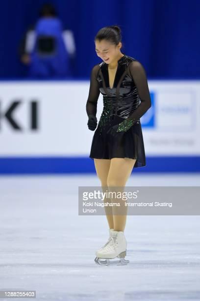 Kaori Sakamoto of Japan celebrates after the Ladies Free Skating during day 2 of the ISU Grand Prix of Figure Skating NHK Trophy at Towa...