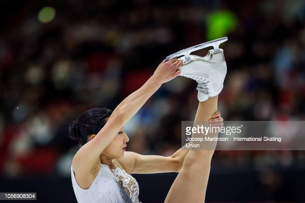 Kaori Sakamoto of Japan competes in the Ladies Free Skating during day two of the ISU Grand Prix of Figure Skating at the Helsinki Arena on November...