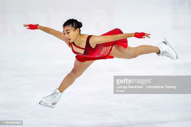 Kaori Sakamoto of Japan competes in the Ladies Short Program during day 1 of the ISU Grand Prix of Figure Skating Internationaux de France at Polesud...