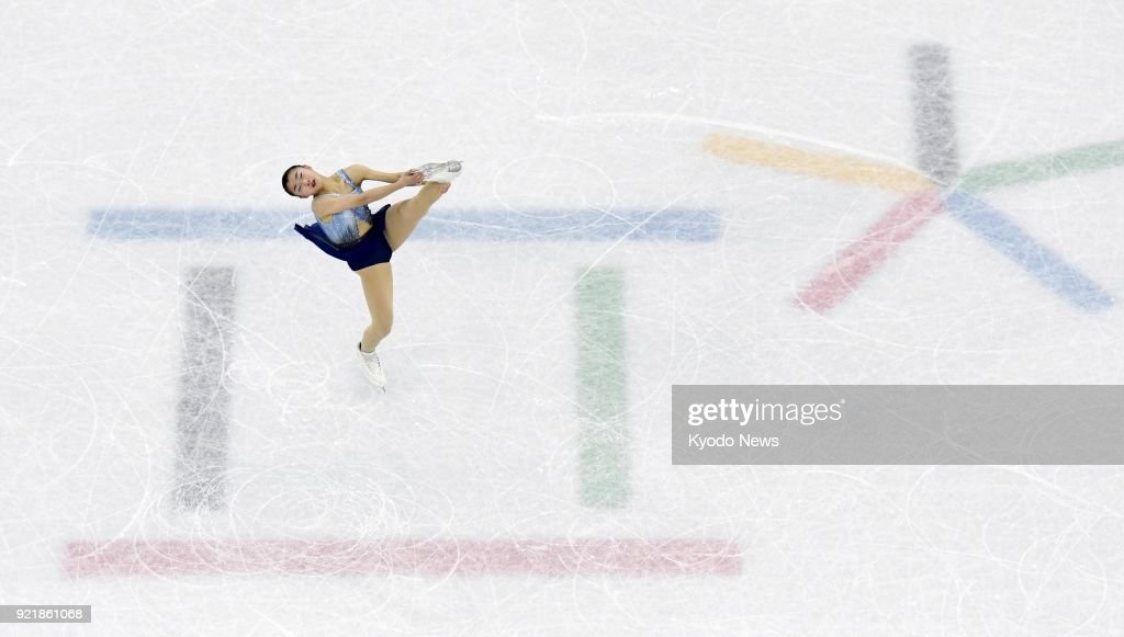 Kaori Sakamoto of Japan performs during the women's figure skating short program at the Pyeongchang Winter Olympics in Gangneung, South Korea, on Feb. 21, 2018. ==Kyodo