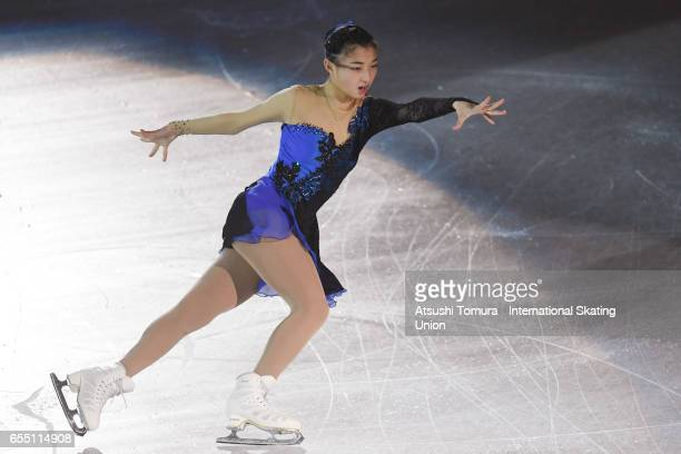 Kaori Sakamoto of Japan performs her routine in the exhibition on the day five of the World Junior Figure Skating Championships at Taipei...