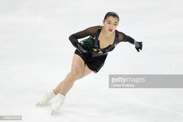 Kaori Sakamoto of Japan performs in Ladies Free Skating during day three of the ISU World Figure Skating Championships at Ericsson Globe on March 26,...