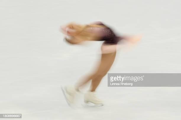 Kaori Sakamoto of Japan performs in the Ladies Short Program during the ISU World Figure Skating Championships at Ericsson Globe on March 24, 2021 in...