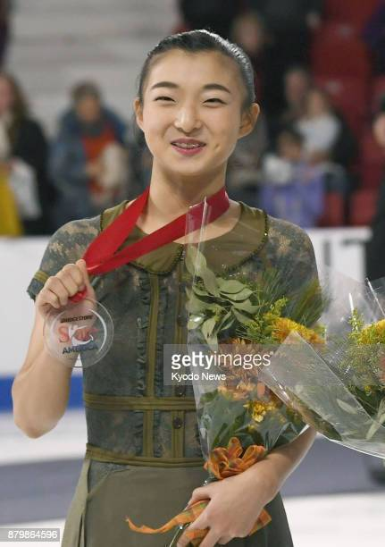 Kaori Sakamoto of Japan poses for a photo after winning the silver at Skate America the final event of the ISU Grand Prix Figure Skating series in...