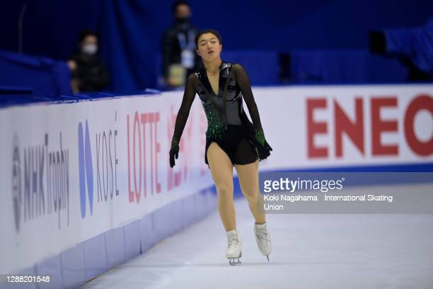 Kaori Sakamoto of Japan practices during the training session on day 2 of the ISU Grand Prix of Figure Skating NHK Trophy at Towa Pharmaceutical...