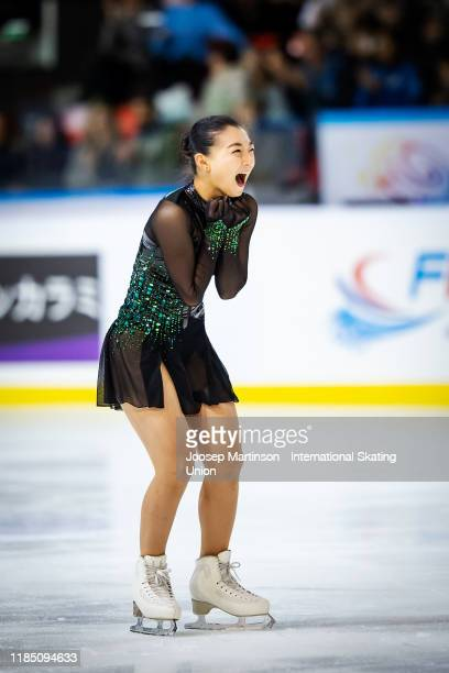 Kaori Sakamoto of Japan REACFTS in the Ladies Free Skating during day 2 of the ISU Grand Prix of Figure Skating Internationaux de France at Polesud...