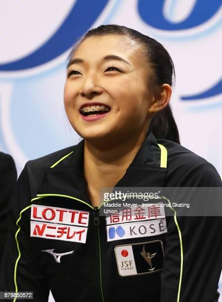 Kaori Sakamoto of Japan receives her score in the Ladies Free Dance program on Day 3 of the ISU Grand Prix of Figure Skating at Herb Brooks Arena on...