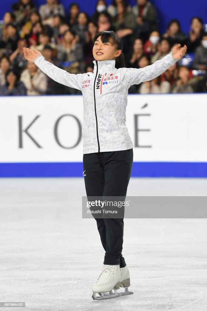 Kaori Sakamoto of Japan smiles during day four of the 86th All Japan Figure Skating Championships at the Musashino Forest Sports Plaza on December 24, 2017 in Chofu, Tokyo, Japan.
