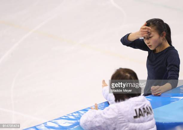 Kaori Sakamoto of Japan speaks with her coach during Figure Skating training ahead of the PyeongChang 2018 Winter Olympic Games at Gangneung Ice...