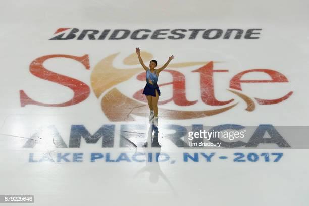 Kaori Sakamoto of Japan waves to the crowd after competing in the Ladies' Short Program during day two of 2017 Bridgestone Skate America at Herb...