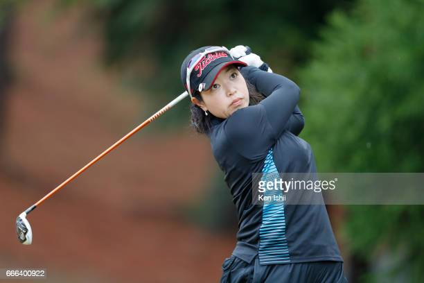 Kaori Yamamoto plays her tee shot on the second hole during the final round of the Hanasaka Ladies Yanmar Golf Tournament at the Biwako Country Club...