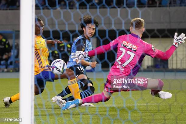 Kaoru Mitoma of Kawasaki Frontale scores his side's second goal during the J.League Meiji Yasuda J1 match between Kawasaki Frontale and Vegalta...