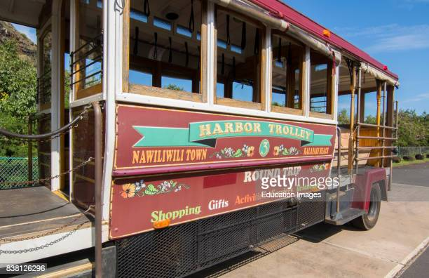 Kapaa Kauai Hawaii downtown village Harbor Trolley bus shuttle for tourists