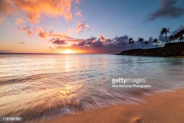 kapalua bay sunset - butlins stock pictures, royalty-free photos & images
