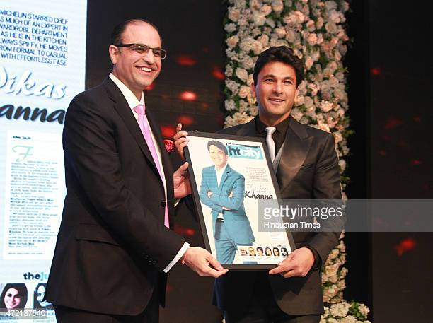 Kapil Chopra President The Oberoi Group presenting the most stylish award to Chef Vikas Khanna at the Hindustan Times Delhis Most Stylish 2015 award...