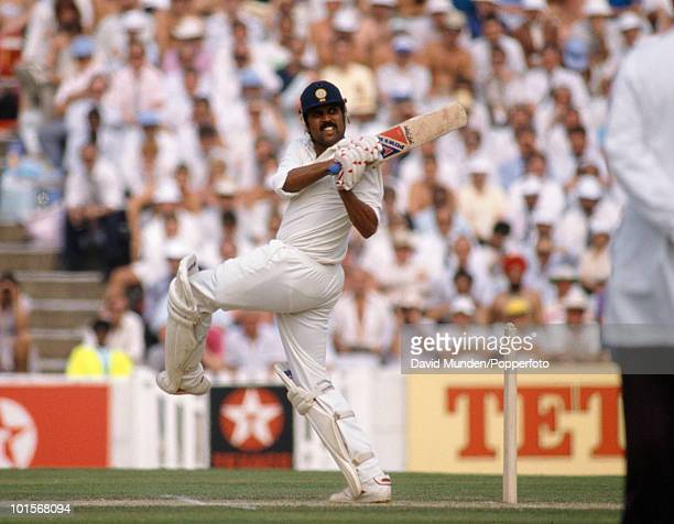 Kapil Dev batting for India during his innings of 110 on the second day of the 3rd Test match between England and India at the Oval in London 24th...