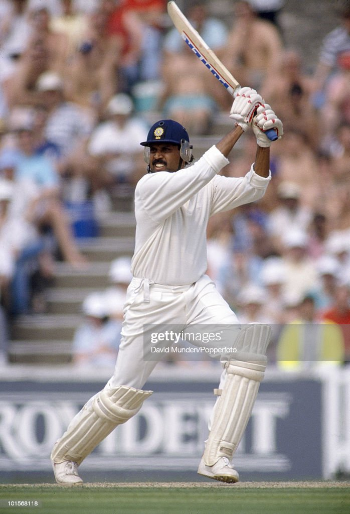 Kapil Dev batting for India during his innings of 110 on the second day of the 3rd Test match between England and India at the Oval in London, 24th August 1990. The match ended in a draw.
