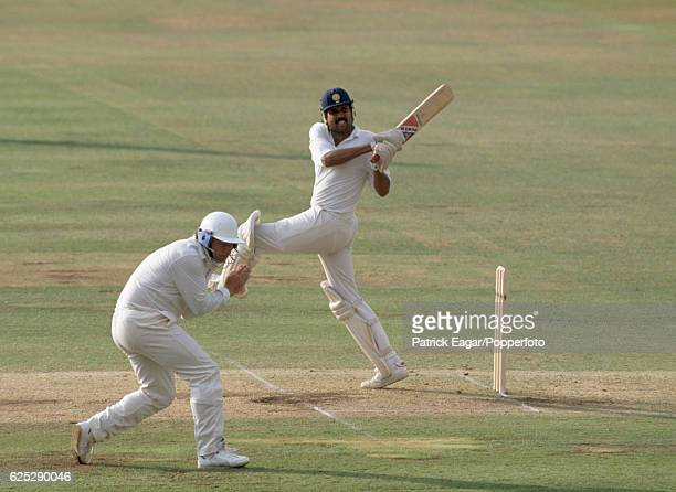 Kapil Dev batting for India during the 1st Test match between England and India at Lord's Cricket Ground London 28th July 1990 The fielder for...