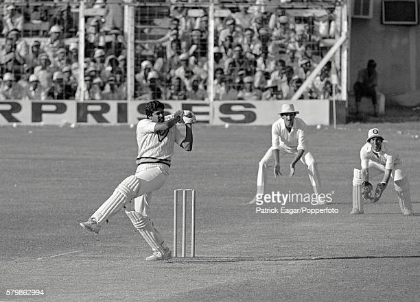 Kapil Dev batting for India during the 1st Test match between India and England at Bombay India 27th Novmber 1981 Chris Tavare of England is at slip...