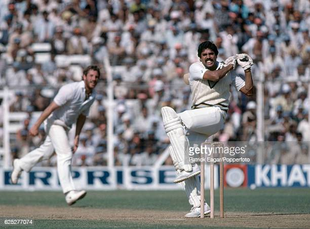 Kapil Dev batting for India during the 1st Test match between India and England at Wankhede Stadium Bombay India 27th November 1981 The bowler for...