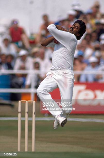 Kapil Dev bowling for India during the 1st Texaco Trophy One Day International match between England and India at Headingley in Leeds 18th July 1990...