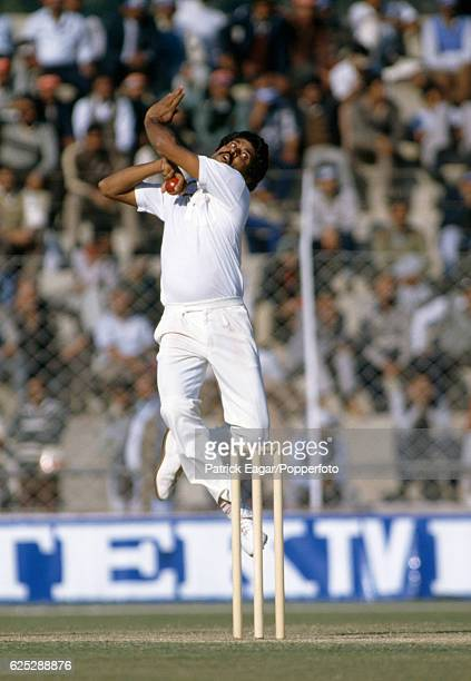 Kapil Dev bowling for India during the 2nd Test match between India and England at Feroz Shah Kotla Delhi India 13th December 1984
