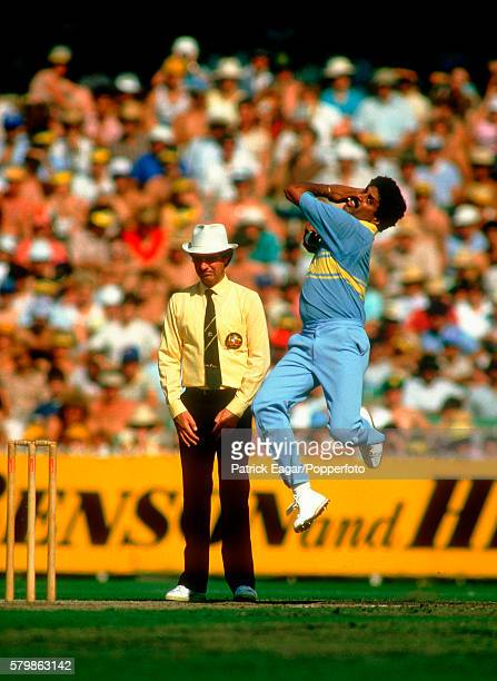 Kapil Dev bowling for India during the Benson and Hedges World Championship of Cricket match between Australia and India at the MCG Melbourne...