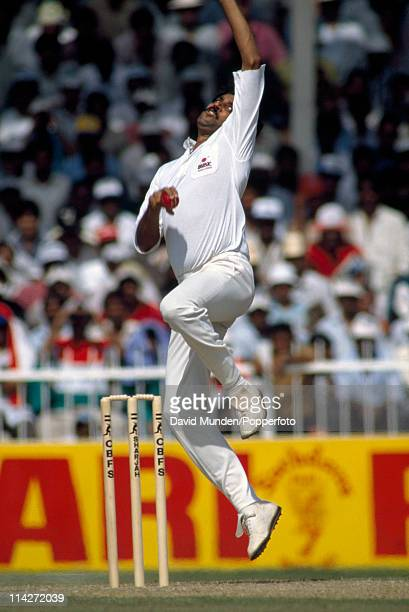 Kapil Dev bowling for India during the Champions Trophy tournament against the West Indies in Sharjah United Arab Emirates on the 13th October 1989...