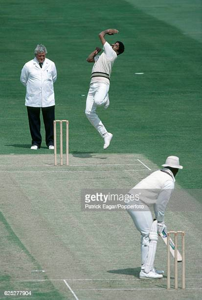 Kapil Dev bowling for India during the Prudential World Cup group match between India and the West Indies at The Oval London 15th June 1983 The...